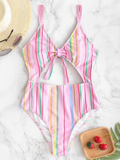 078fd182e098c ZAFUL Striped Cutout One Piece Swimsuit - Pink L