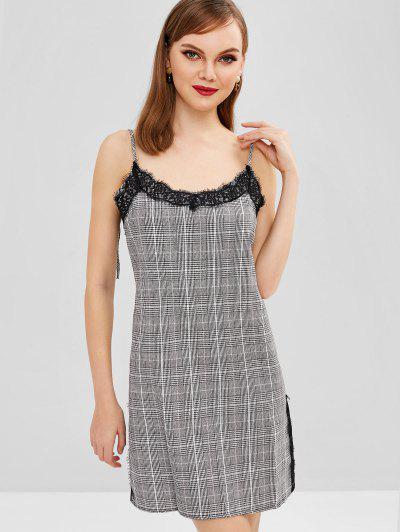 Plaid Lace Panou Dress Cami - Negru M