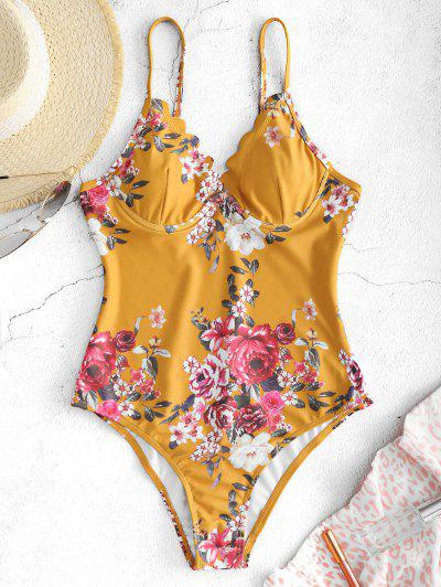 ZAFUL Floral Scalloped Underwire Swimsuit - Bee Yellow S