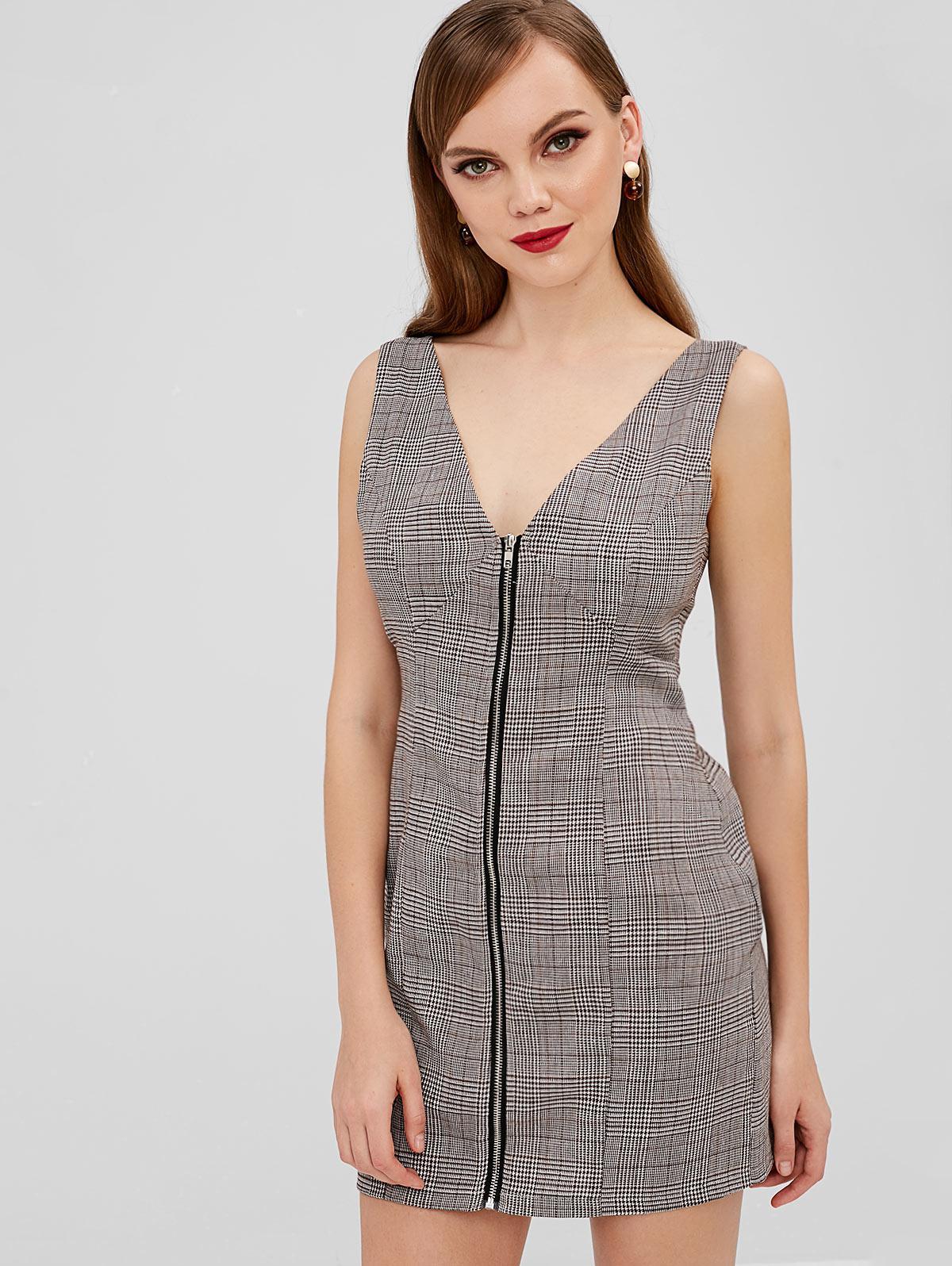 ZAFUL Zip Up Plaid Mini Dress