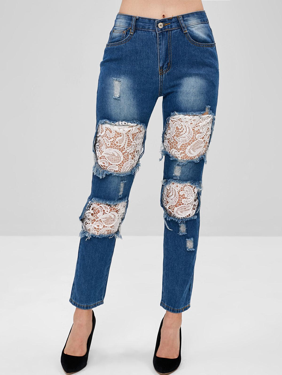 Straight Leg Lace Inset Cut Out Jeans, Denim dark blue