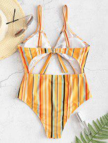 abc2b9ec93f 40% OFF] [HOT] 2019 ZAFUL Striped Cutout One-piece Swimsuit In BEE ...
