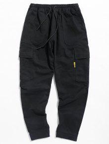 سروال الرباط جيب عارضة - أسود Xl
