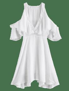 84ee198a6fb60 42% OFF  2019 V Neck Cold Shoulder Mini Dress In MILK WHITE