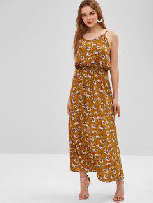 38204d033d6 25% OFF  2019 Sunflower Cut Out Maxi Dress In ORANGE GOLD