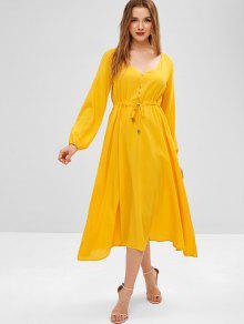 019f8ef3a80 37% OFF  2019 Buttoned Long Sleeve Midi Dress In BRIGHT YELLOW