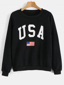 الولايات المتحدة الأمريكية العلم الجرافيك البلوز - أسود M