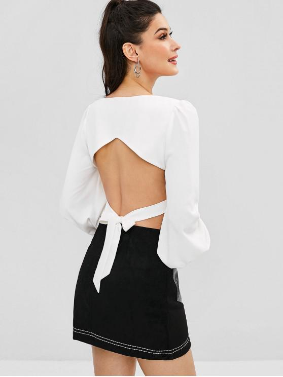 women ZAFUL Crop Square Neck Tied Back Blouse - WHITE M