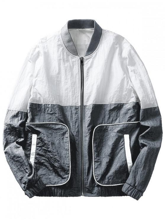 trendy Color Block Pockets Jacket - GRAY M