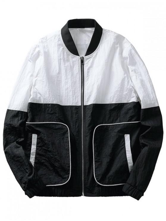 fancy Color Block Pockets Jacket - BLACK M