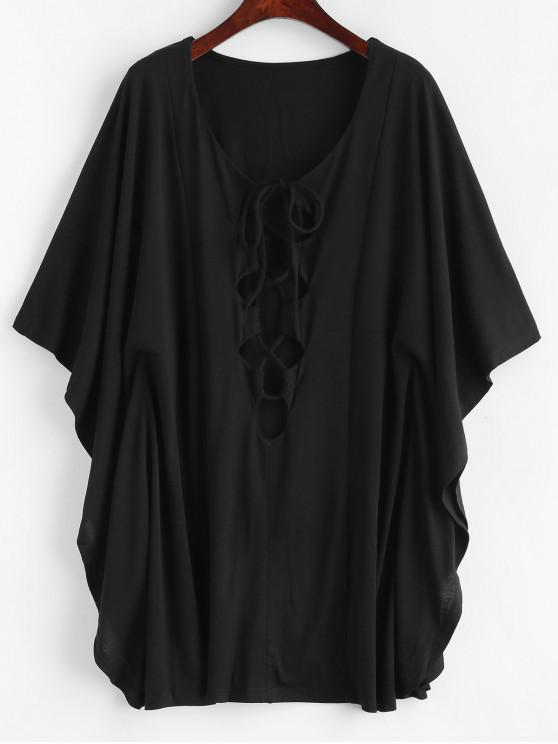 trendy Lace Up Butterfly Sleeve Cover Up Dress - BLACK L