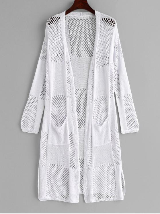 trendy Hollow Out Pocket Slit Cover Up - WHITE ONE SIZE