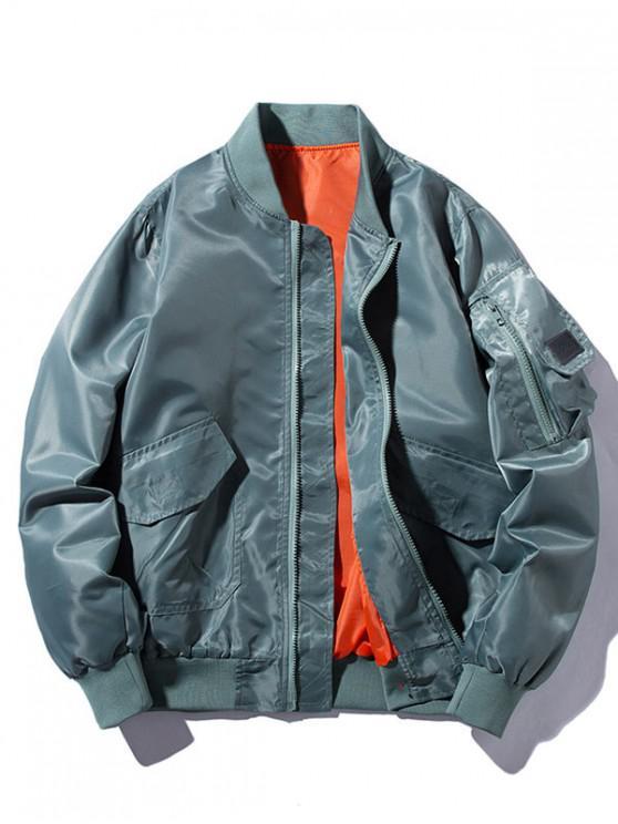fashion Windbreaker Pockets Bomber Jacket - PEACOCK BLUE 2XL