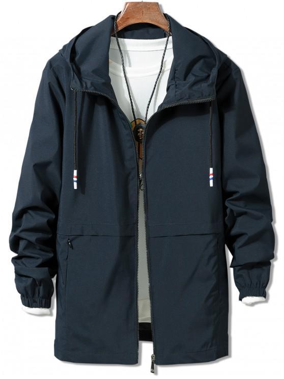 unique Solid Zipper Windbreaker Jacket - BLUE L