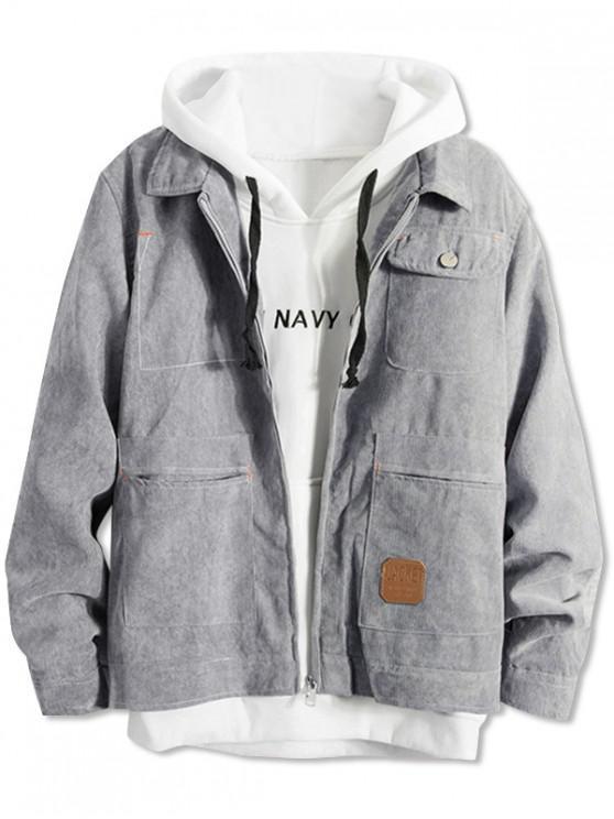 outfit Pockets Corduroy Zipper Jacket - GRAY XL