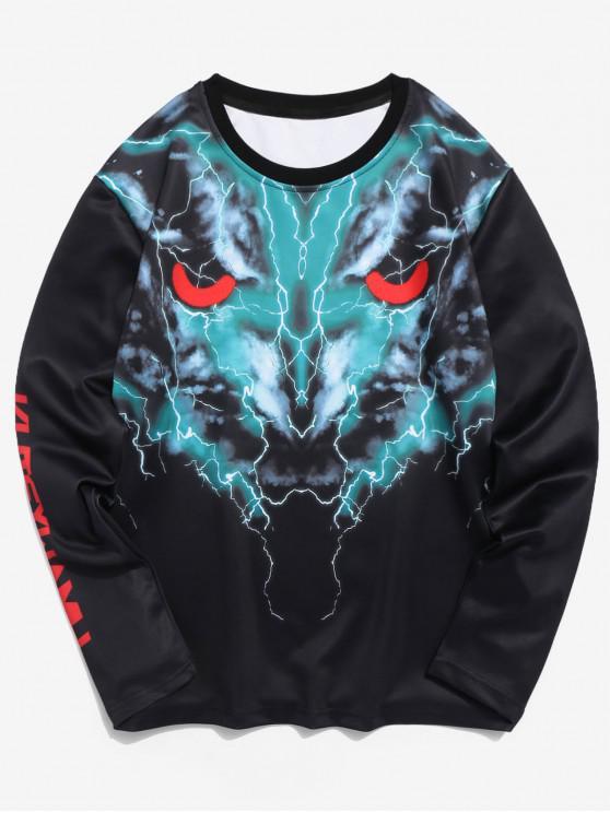 Camiseta de manga larga con estampado 3D de lobo - Negro XL