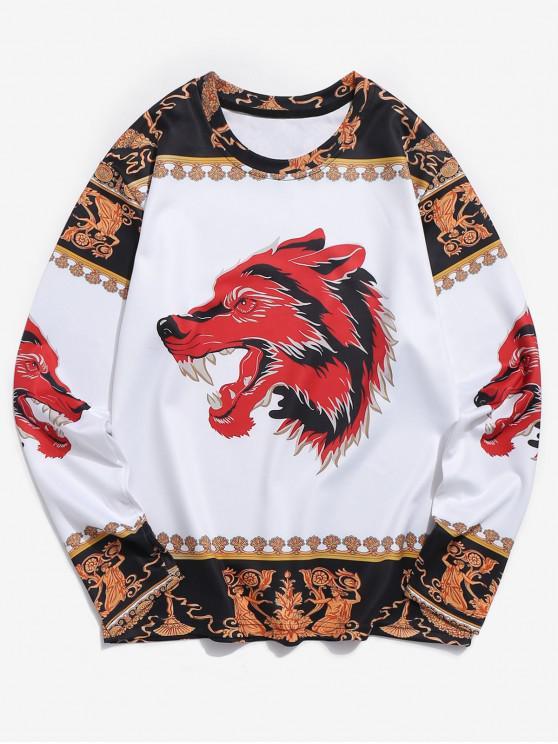 sale Wolf Ethnic 3D Print Long Sleeves Tee - MULTI L