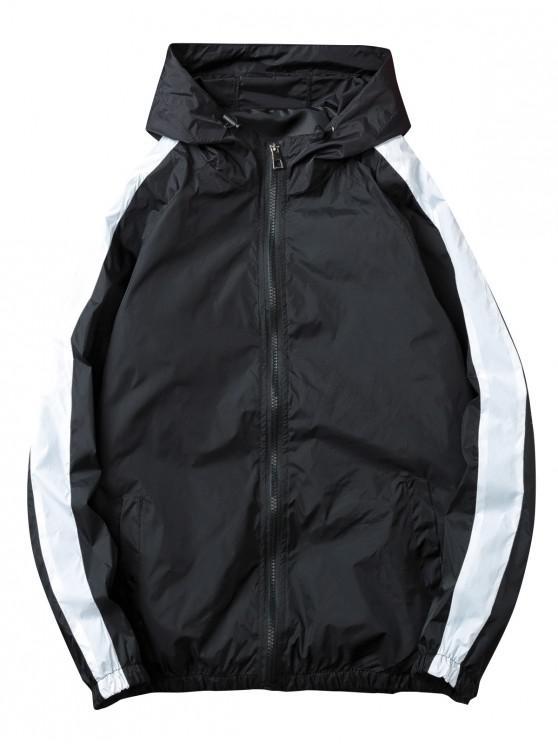 shop Contrast Stripe Windbreaker Zipper Jacket - BLACK 2XL