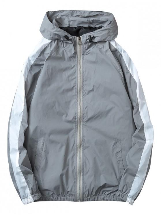 womens Contrast Stripe Windbreaker Zipper Jacket - GRAY 3XL