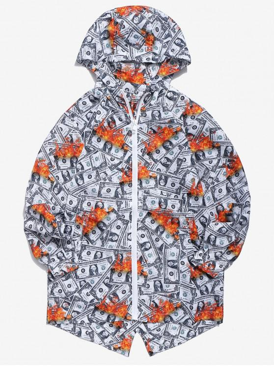 hot US Dollar Print Windbreaker Jacket - PLATINUM M