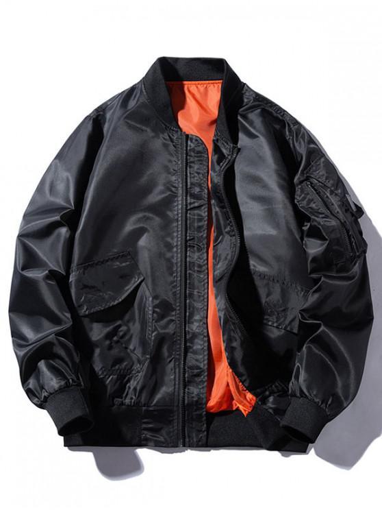 hot Windbreaker Pockets Bomber Jacket - BLACK L