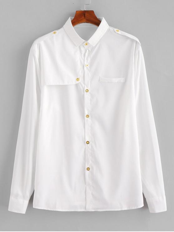 Camisa de Epaulette del botón del remiendo - Blanco XS