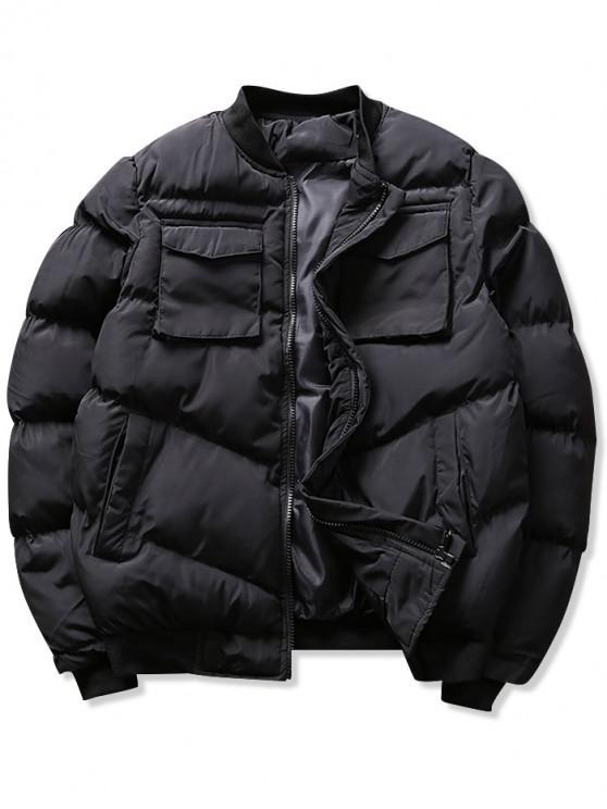 fashion Solid Pockets Puffer Bomber Jacket - BLACK XS