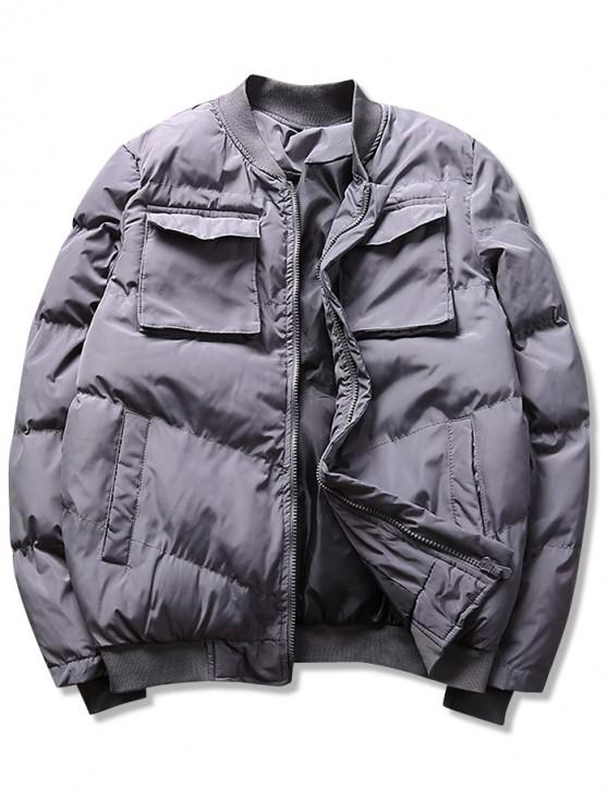 unique Solid Pockets Puffer Bomber Jacket - GRAY XS