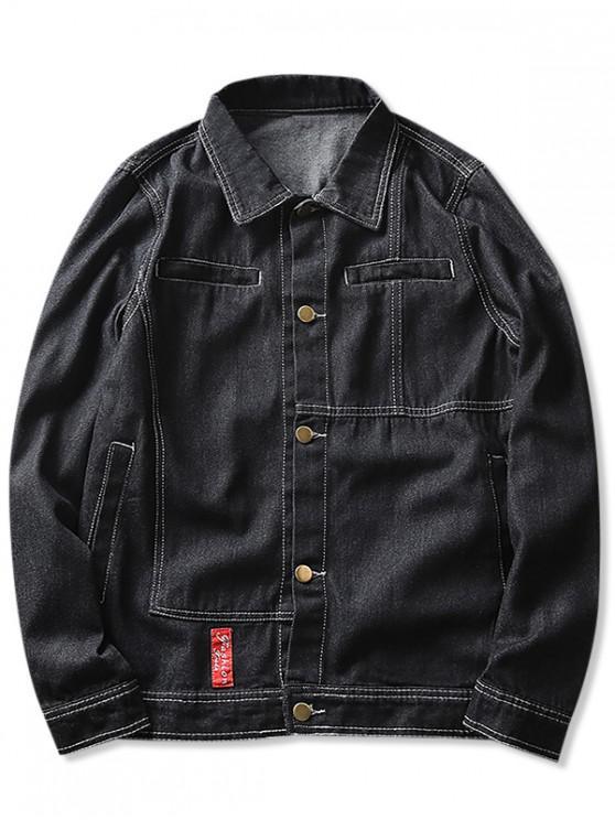 womens Contrast Stitched Denim Jacket - BLACK S