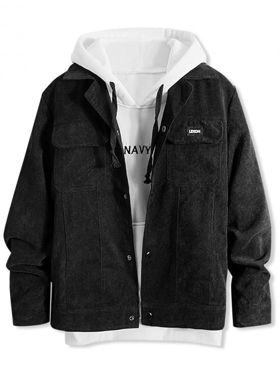 outfit Vintage Lapel Pocket Button Up Jacket - BLACK XS