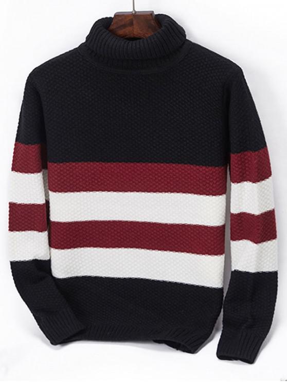 new Turtleneck Contrast Striped Knit Sweater - BLACK XS