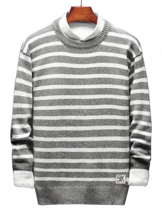 trendy Contrast Horizontal Stripe Knit Sweater - GRAY S