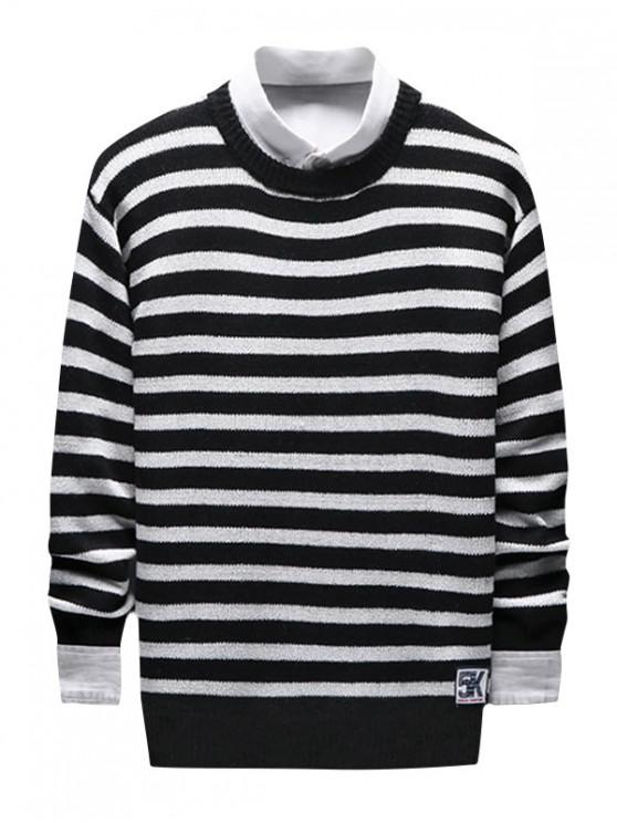 chic Contrast Horizontal Stripe Knit Sweater - BLACK S