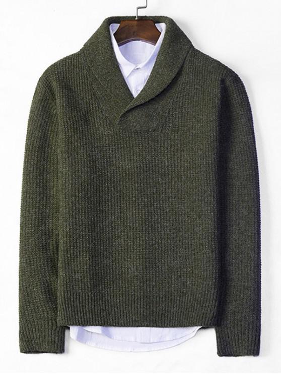 Suéter de punto de cuello de chal sólido - Ejercito Verde XS