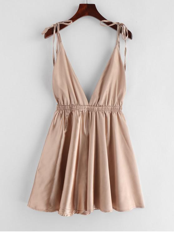 Rückenfreies Schlafanzug-Kleid aus Satin - Champagne-Gold S