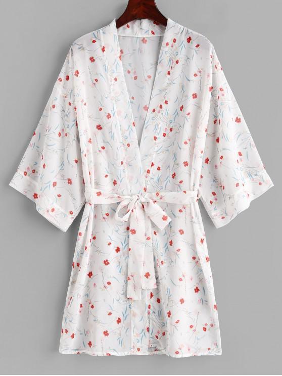 Flor con cinturón Kimono Cover Up - Blanco L