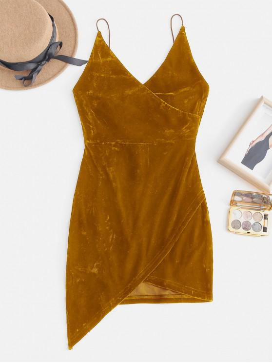 womens Strappy Open Back Velvet Mini Party Dress - BEE YELLOW L