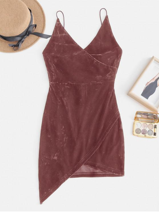 new Strappy Open Back Velvet Mini Party Dress - BEAN RED M