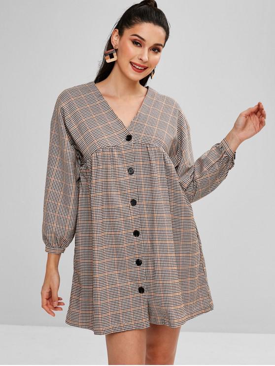 new Plaid Button Up Mini Dress - MULTI S