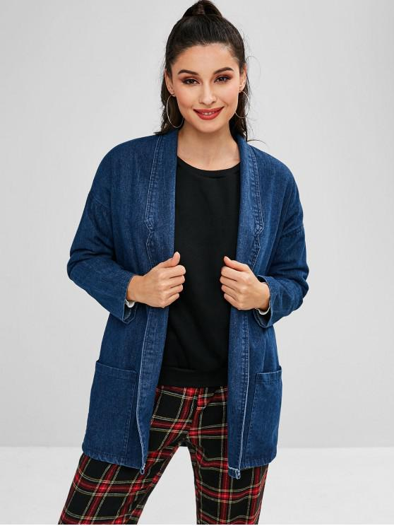 outfits Shawl Collar Denim Coat - BLUE ONE SIZE