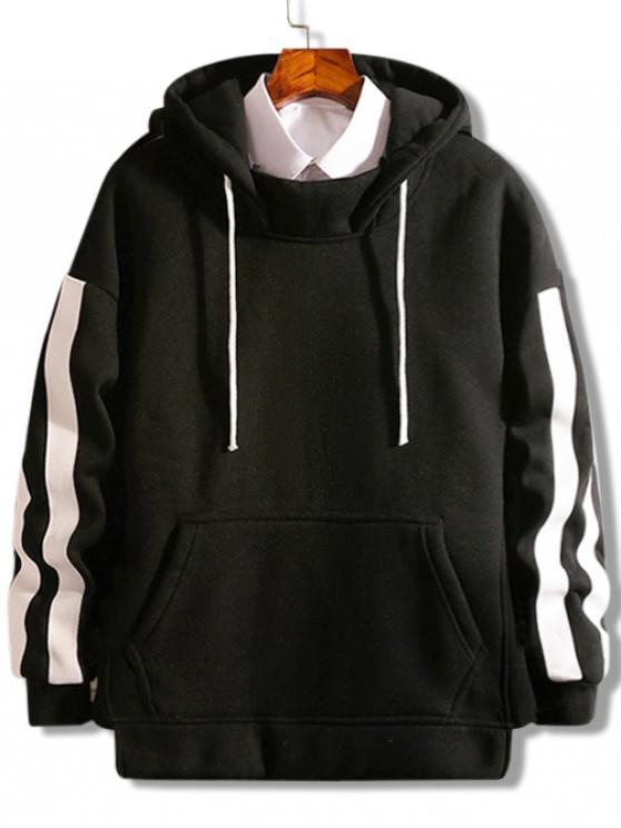 womens Hem Split Fleece Hoodie - BLACK XS