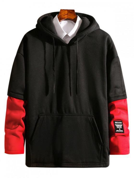 Sudadera con capucha de polar de dos piezas de Colorblock - Rojo XS
