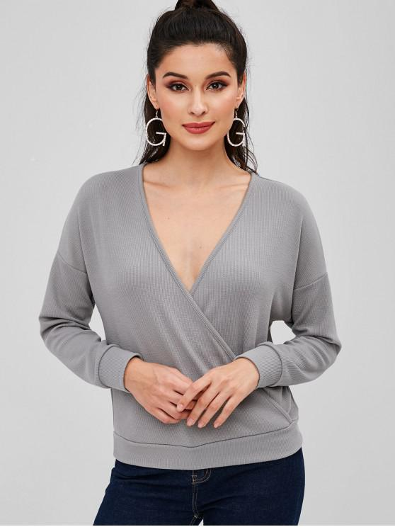 outfits Drop Shoulder Plunge Surplice Tee - GRAY S