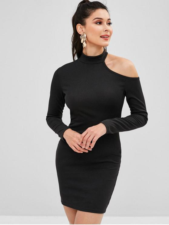 44 Off 2019 Cut Out One Shoulder Mini Bodycon Dress In Black M Zaful