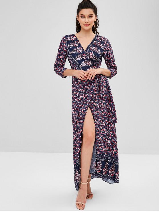 outfits Printed V Neck Wrap Maxi Dress - DARK SLATE BLUE M