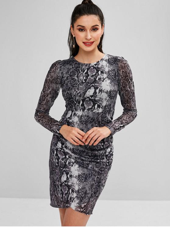 shop Snakeskin Ruched Mesh Mini Dress - GRAY M