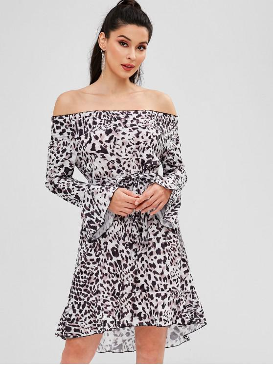 best Belted Leopard Off Shoulder Dress - MILK WHITE L