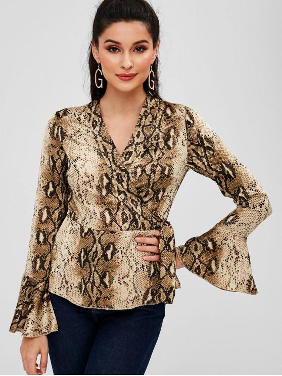 affordable Snake Print Bell Sleeve Peplum Wrap Top - MULTI S