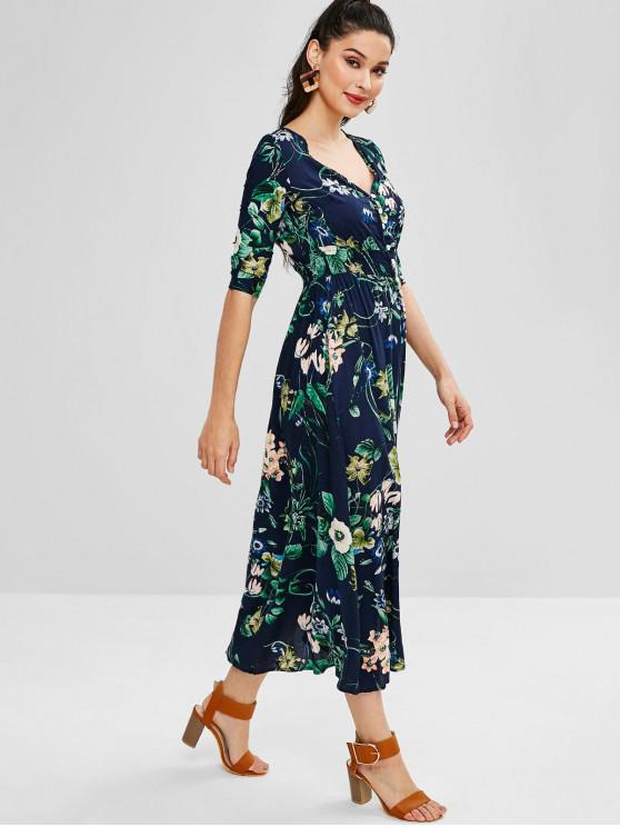 123abe566c 27% OFF  2019 Button Down Floral Maxi Dress In DARK SLATE BLUE ...
