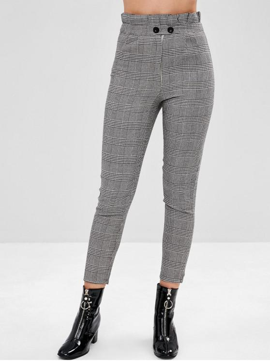 shops Pleated Waist Plaid Peg Leg Pants - MULTI M